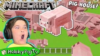 minecraft pig house build  hobbyfrog hobbypigtv youtube