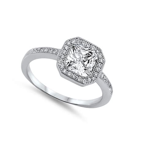 wedding ring silver wedding halo ring 925 sterling silver wedding