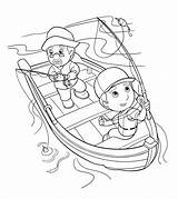 Coloring Fishing sketch template