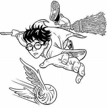 Harry Potter Coloring Quidditch Pages Broom Drawings