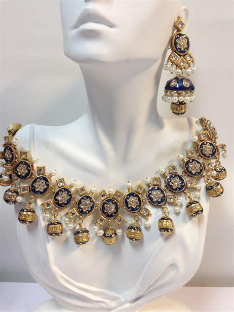 bridal wear kundan necklace set in 22k gold plated zircon pol indian kundan islamic and