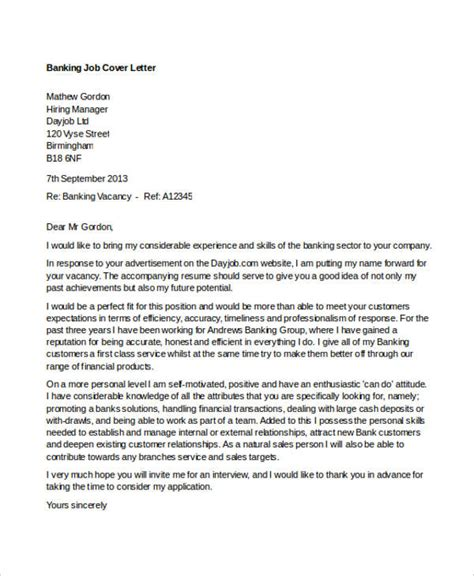 banking cover letter templates sample