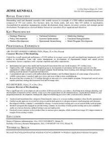 resume for retail merchandiser exle director of merchandising resume free sle