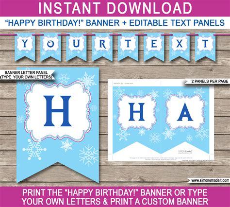 frozen party banner template birthday banner editable