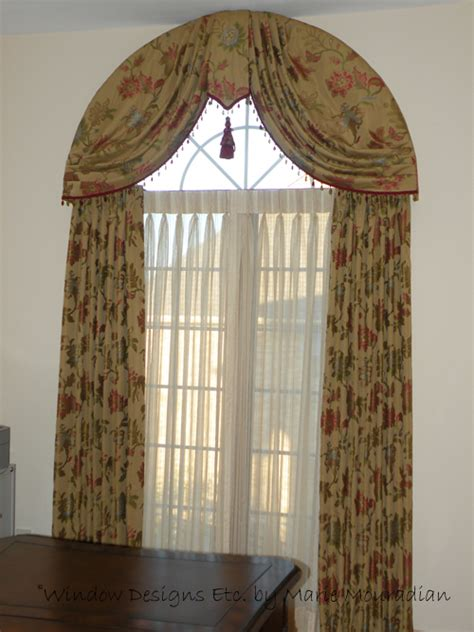 elegant arched window treatment swags  drapes