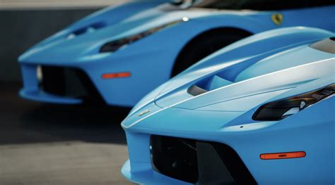 Two Different Baby Blue LaFerrari's at a Racetrack For ...