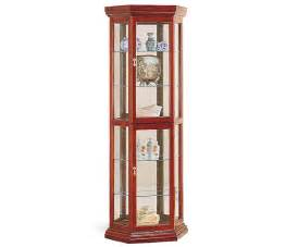 tall corner display cabinet with glass doors divided into