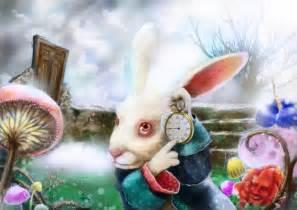 Alice and Wonderland Rabbit with Clock