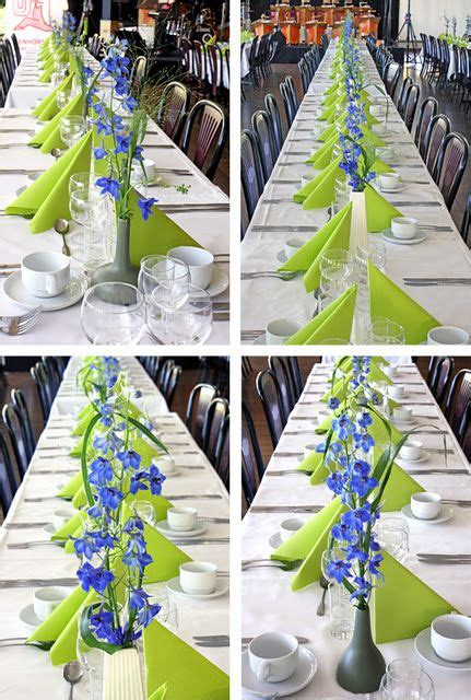 Lime green napkins with white linens The blue flowers add