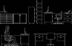 Elevation Of Office Furniture 2D DWG Elevation for AutoCAD