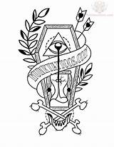 Tattoo Coffin Drawing Tattoos Traditional Neo Flash Drawings Hourglass Coloring Sample Banner Unique Ink Truetattoos Shaped Diamond Getdrawings Crazy Sketches sketch template