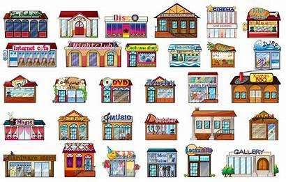 Buildings Different Vector Illustration Cartoon Background Building