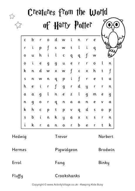 Harry Potter Printable Word Searches