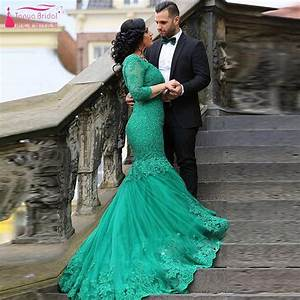 dark green wedding dresses mermaid long sleeve lace bridal With dark green wedding dress