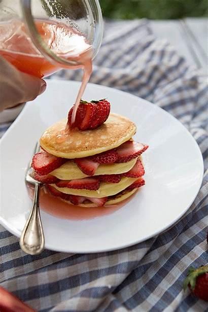 Syrup Honey Strawberry Pancake Stacks Pancakes Rhubarb