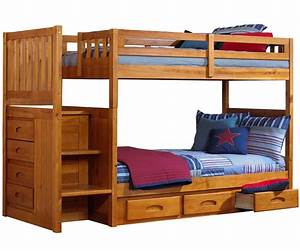 Ridgeline Honey Mission Staircase Bunk Bed | Bed Frames ...