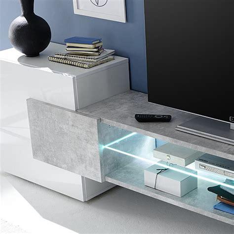 Meuble Télé Design Blanc Laqué Brillant Et Béton Sofamobili