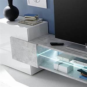 Meuble Tv Banc : meuble t l design blanc laqu brillant et b ton sofamobili ~ Teatrodelosmanantiales.com Idées de Décoration