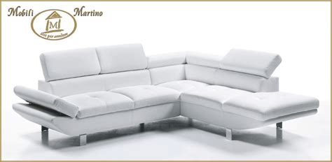 Divano Angolare Moderno In Ecopelle Bianco, Angolo Salotto
