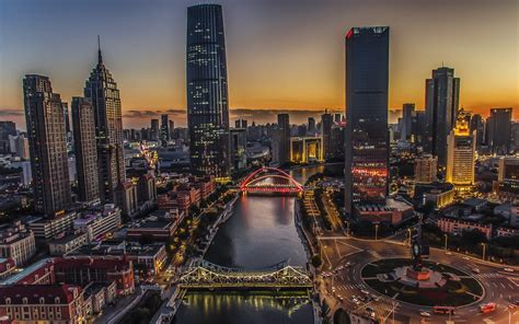 wallpaper tianjin city night river bridge skyscrapers