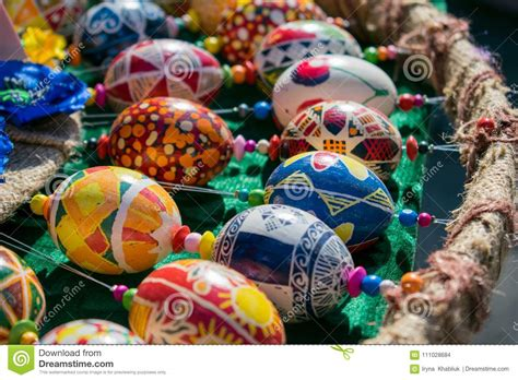 colorful hand painted easter eggs   variety