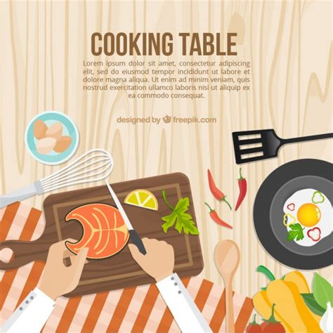 cooking table template vector