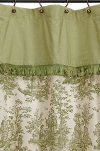 ready made extra long shower curtain colonial toile sage With ready made bathroom curtains
