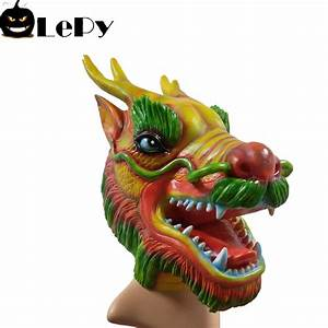 2018, New, Realistic, Adult, Full, Head, Mask, Halloween, Party, Costume, Latex, Chinese, Dragon, Mask, Scary