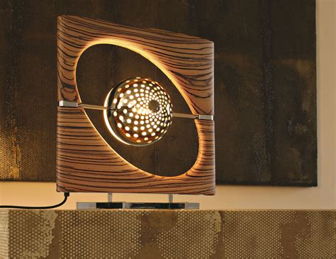 sun ra modern designer italian table lamp  zebrano wood