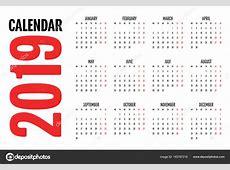 2019日历设计模板矢量说明简单明了周从星期一开始 — 图库矢量图像© duntarogmailcom