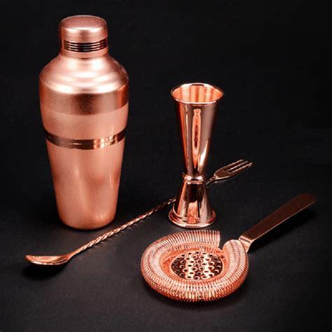 bar set premium copper plated shaker barware set 4
