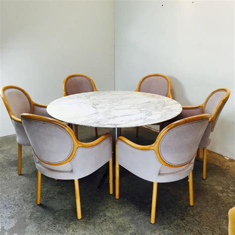 round conference table for 6 round carrara marble dining conference table by florence