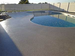 Outdoor modern resurface pool deck design with stone for Pool deck ideas made from concrete