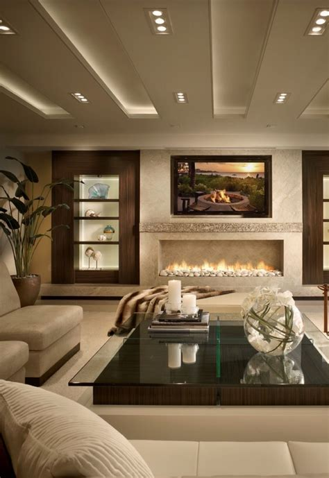linear fireplace contemporary living room design