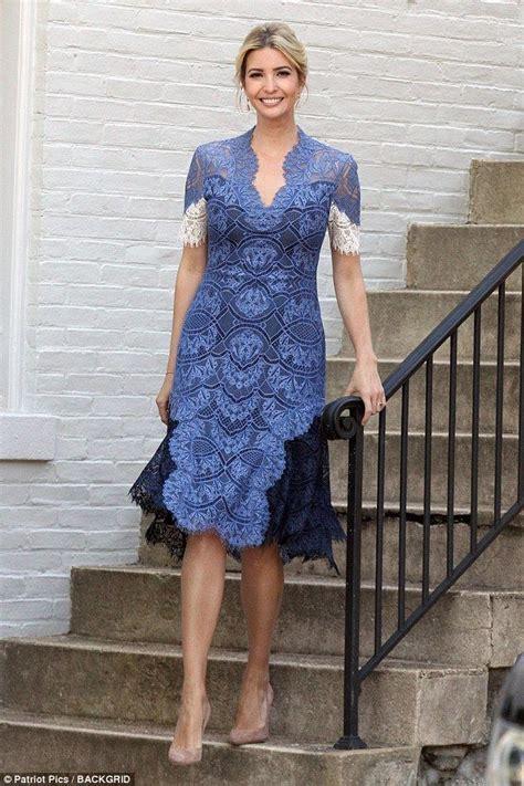 ivanka trump stuns   elegant blue lace dress