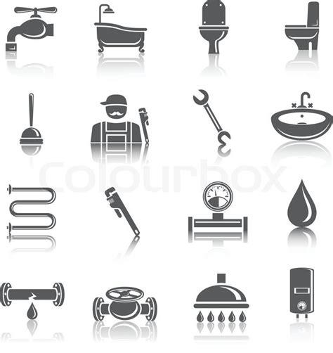 sanitaer werkzeuge piktogramme symbole stock vektor