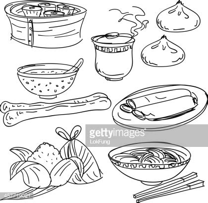 id馥s cuisine food collection in black and white vector getty images