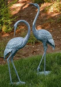 Brass Medium Crane Pair Garden Statue Coastal Heron Bird