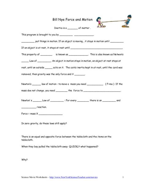 Bill Nye Motion Worksheet Free Worksheets Library  Download And Print Worksheets  Free On