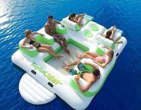 floating island 6 person inflatable lounge raft pool lake water sport 2 coolers