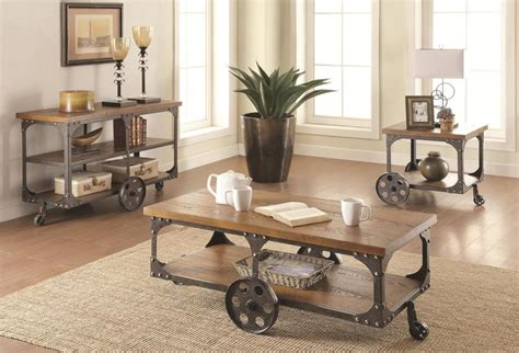Rustic coffee and end tables usually go in an ensemble with coffee tables to create a harmonic look in the living room. 3pc Rustic Country Style Coffee Table Set - Miami Direct Furniture