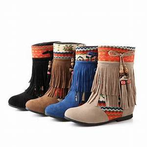 Big Size Ladies Ankle Short Boots Women Tassels Slip On ...