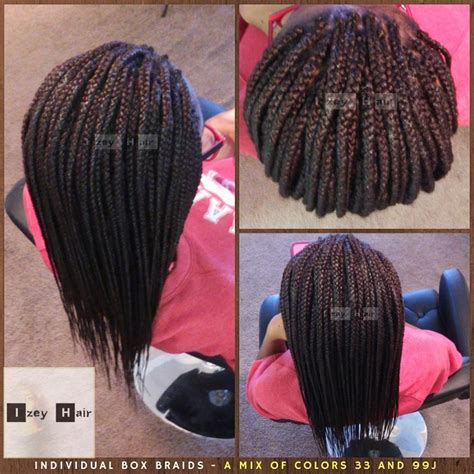 33 hair color individual box braids a mix of color 33 and color 99j