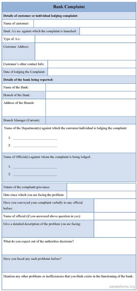 complaint template bank complaint form sle forms