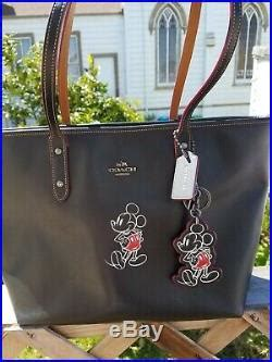 coach  disney mickey mouse city zip tote black leather  keychain disney