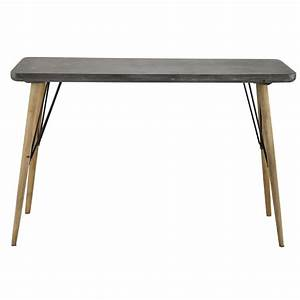 Table console en bois grise l 120 cm cleveland maisons for Maison du monde console