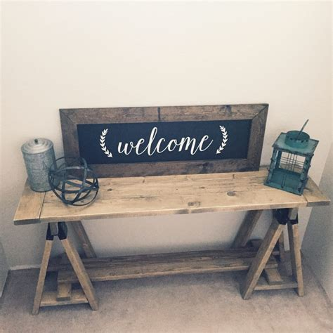 sawhorse console table shanty  chic