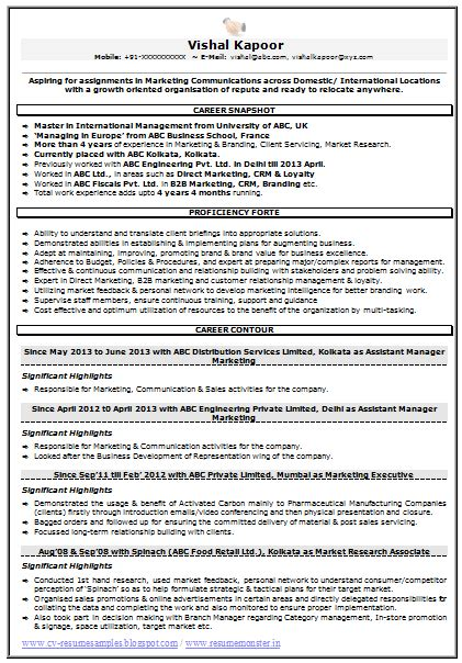 Market Research Resume Objective by Resume Sle For Marketing Market Research 1 Career