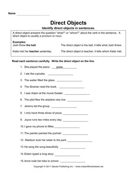 all worksheets 187 identifying direct and indirect objects