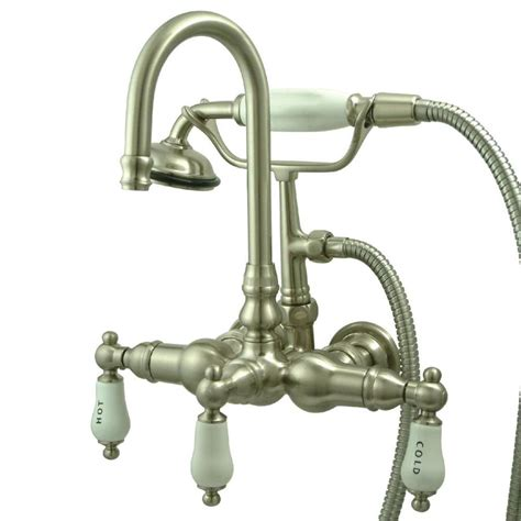 Vintage Wall Mount Faucet by Kingston Brass Vintage Satin Nickel 3 Handle Wall Mount